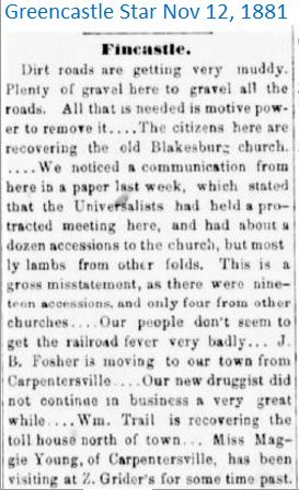 Greencastle Star Nov 12 1881