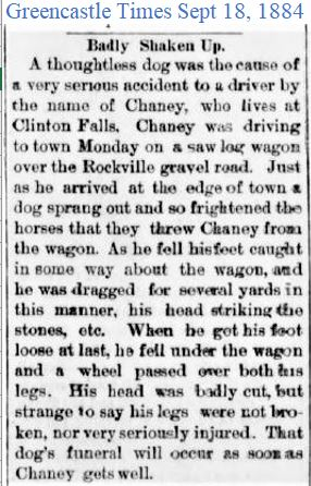 Greencastle Times Sept 18 1884 Dog cause
