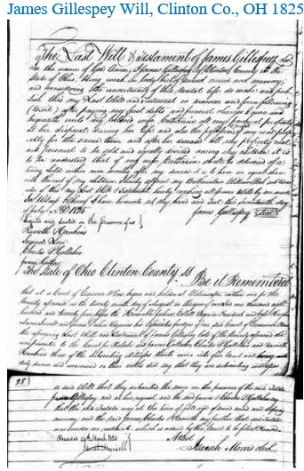 James Gillespie Will Clinton Co OH 1825.