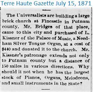 Terre Hauge Gazette July 15 1871 Church.