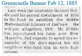Greencastle Banner Feb 12 1885 Biddle en