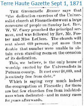 Terre Haute Gazette Sept 1 1871 church