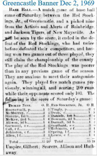 Greencastle Banner Dec 2 1869 Baseball J