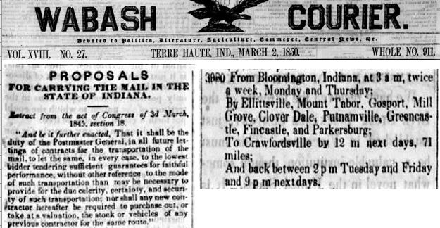 Wabash Courier March 2 1850 mail routes