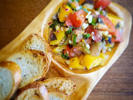 Grilled Corn and Heirloom Tomato Bruschetta