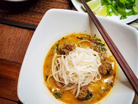 Weeknight Coconut Curry Noodle Soup with Turmeric Turkey Meatballs