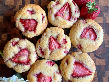 Fresh Strawberry Sourdough Muffins