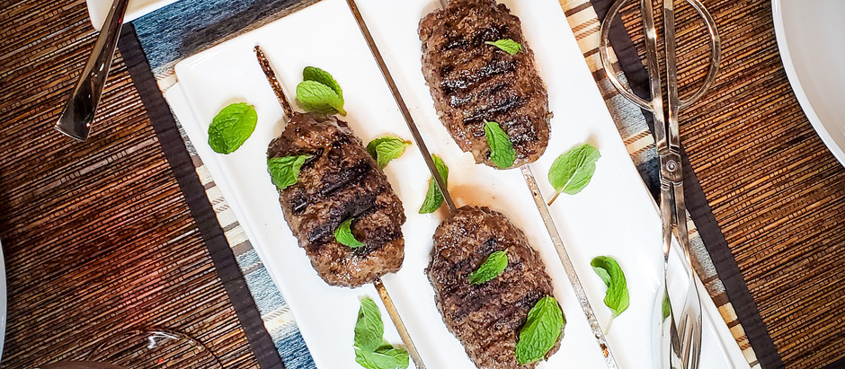 Spiced Beef Kebabs with Herby Cucumber Salad