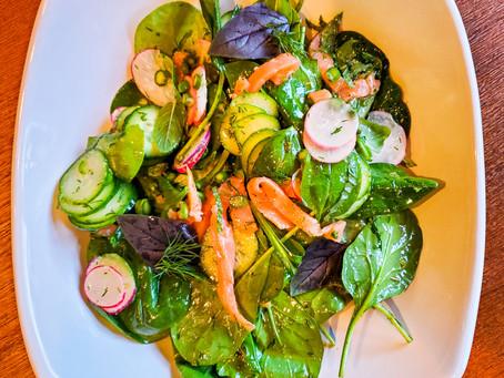 Spring Salad with Smoked Salmon and Preserved Lemon Dijon Vinaigrette