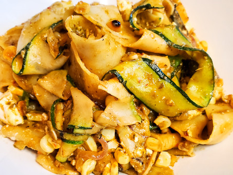 Pappardelle with Spicy Pesto, Grilled Zucchini Ribbons, and Charred Corn