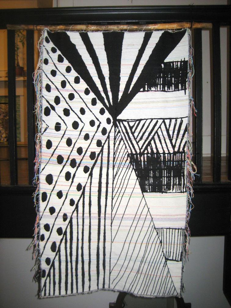 Jacquard woven tapestry, reverse