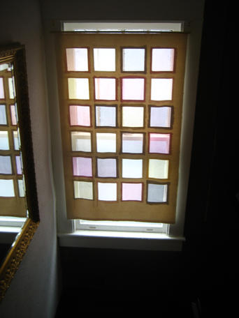 Windowpanes of naturally-dyed silk organza on duck cloth frame, morning light
