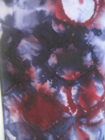 Logwood and Brazilwood dye on silk habotai, close-up