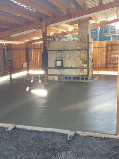 The slab is in.