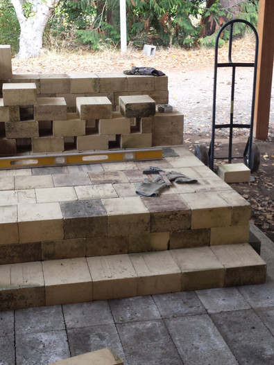 Laying out the kiln floor.