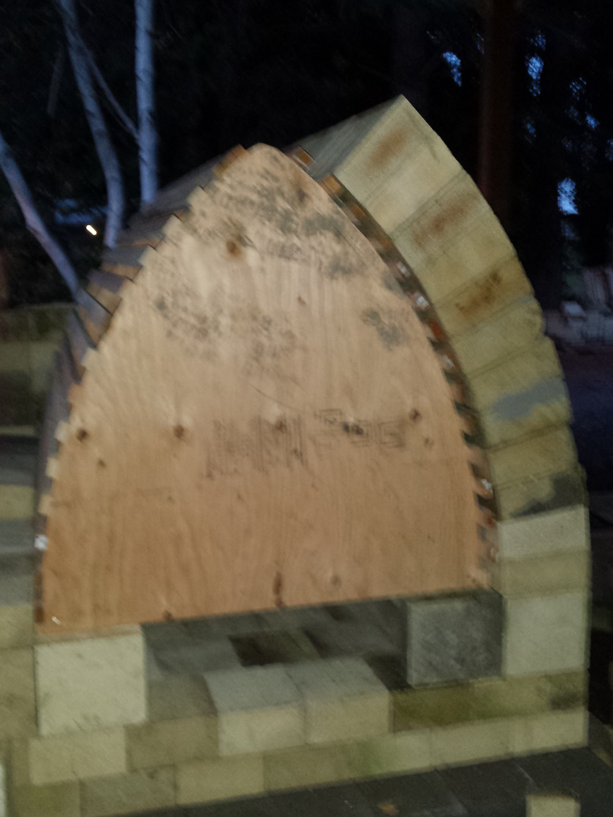 Starting the brick up of the arch.