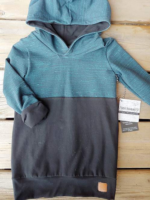 Textured Teal & Black Hooded Tunic Pullover