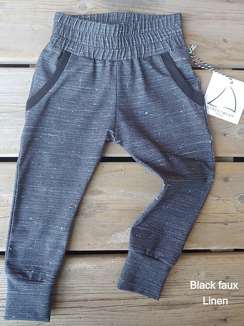 Relaxed Fit Joggers 'BLACK LINEN'