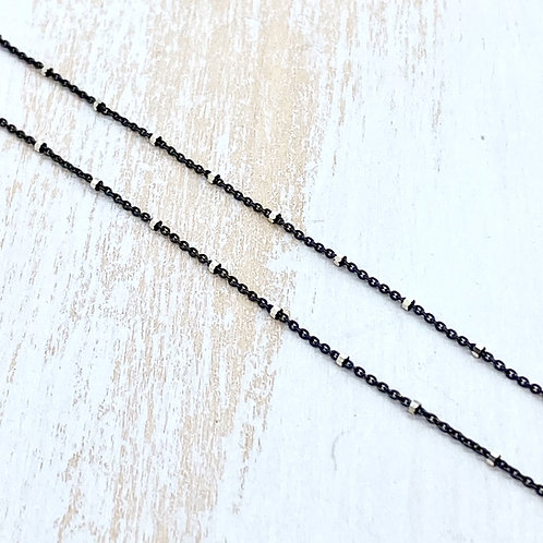 Oxidized Sterling Silver Chain with Faceted Satellite Beads