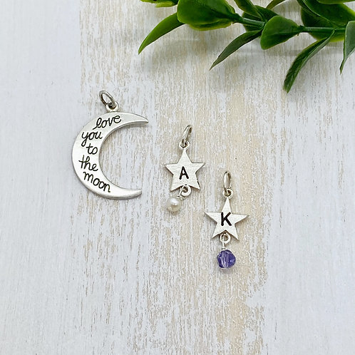 Love You To The Moon Charm with Customizable Initial Stars