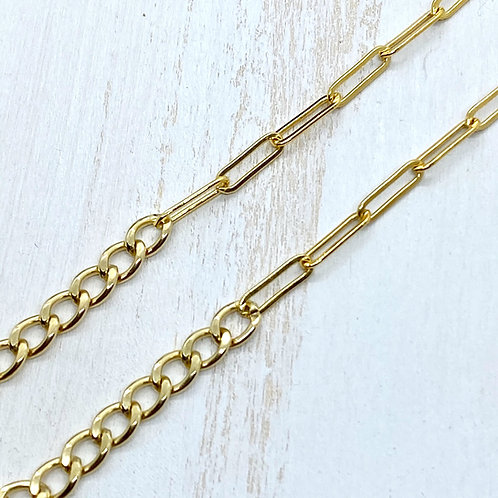 Mixed Curb Chain and Paperclip Chain Statement Necklace
