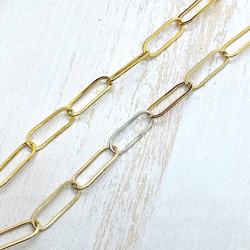 Goldfill Paperclip Chain with Sterling Accent