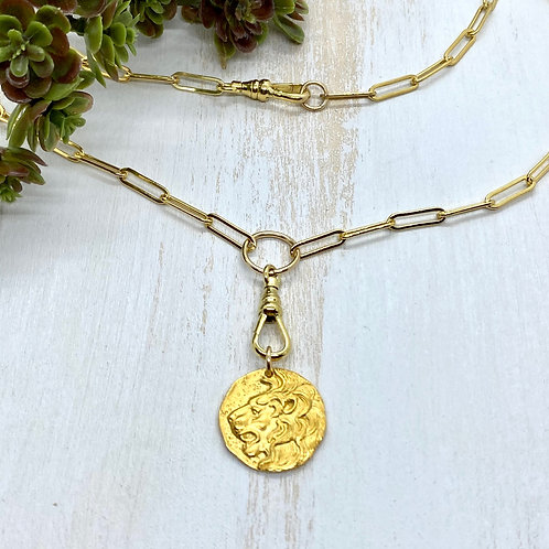 Roaring Lion Coin Necklace