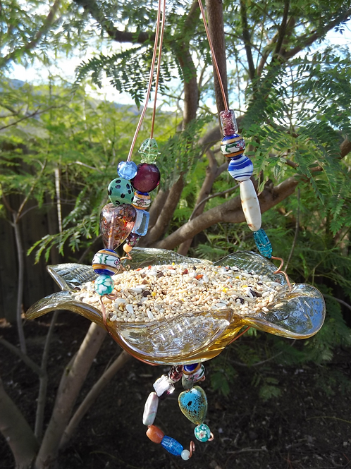 "Whimsical ""Small""Glass Bird Feeder 
