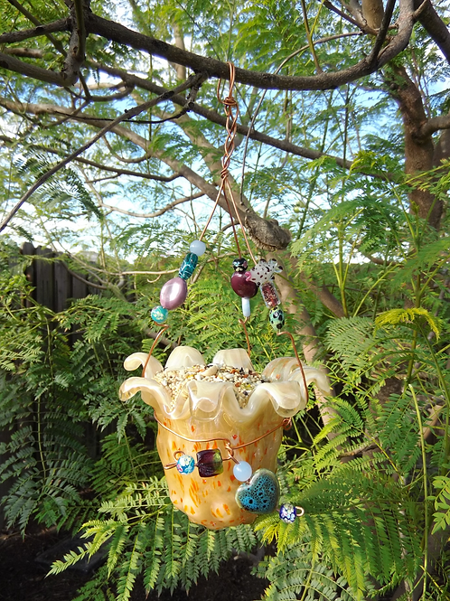 "Whimsical ""Small"" Glass Bird Feeder 