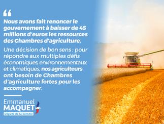 Chambres d'agriculture : le Gouvernement renonce à la baisse de 45 millions d'euros des ress