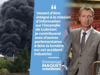 Incendie de l'usine Lubrizol : nomination comme membre de la mission d'information parlement