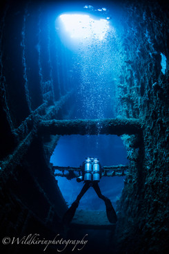 ダイバーと沈没船内 SSプレジデントクーリッジ、バヌアツ