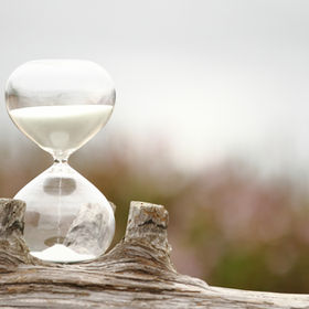 Modern Hourglass -- sand trickling throu