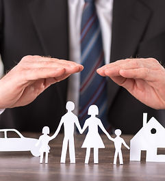 Concept of insurance with hands over a h