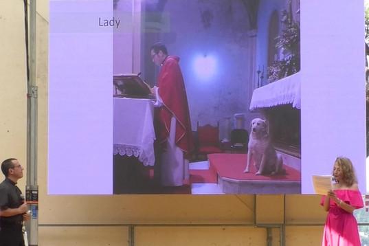 """Lady, in collegamento Skype da Santopadre (Frosinone)  Una storia e 2 premi: """"fedeltà"""" a Lady, """"bontà"""" a don Giuseppe"""