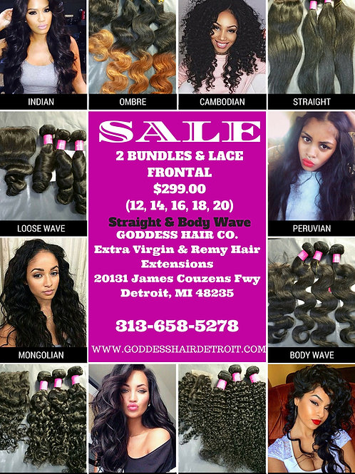 2 bundles (12-20) with Matching Lace Frontal