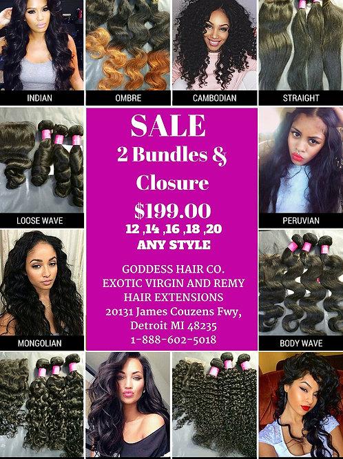 Goddess 2 Bundle Deal W/ Matching Closure (12-20)