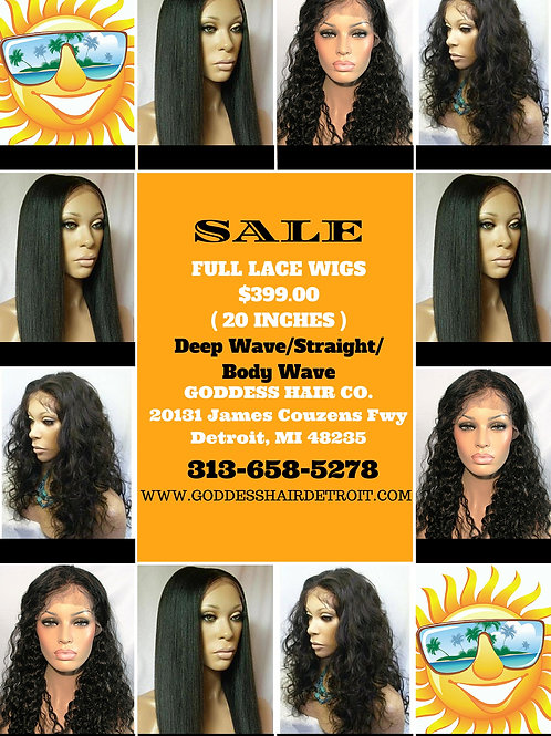 Full Lace Wigs (Deep Wave, Loose Wave, Body Wave, & Straight)