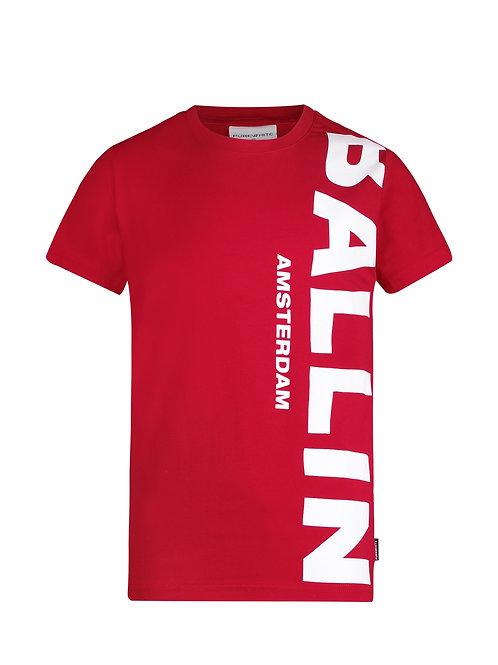 Ballin t-shirt rood met witte letters