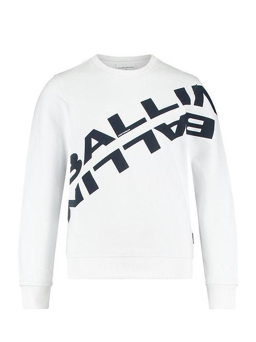 Ballin sweater wit met blauwe letters