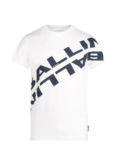 Ballin t-shirt wit met blauwe letters