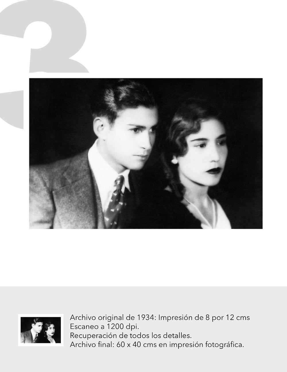 Foto antigüa escaneada en alta resolución de pareja de esposos en 1930