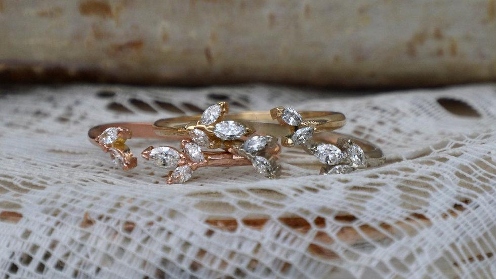 Aurora split Ring - 14k rose gold/diamonds