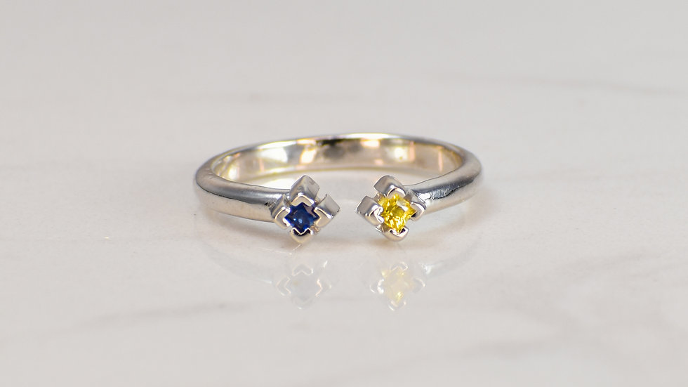 Double Princess Ring - Yellow Sapphire/Blue Sapphire in Sterling Silver