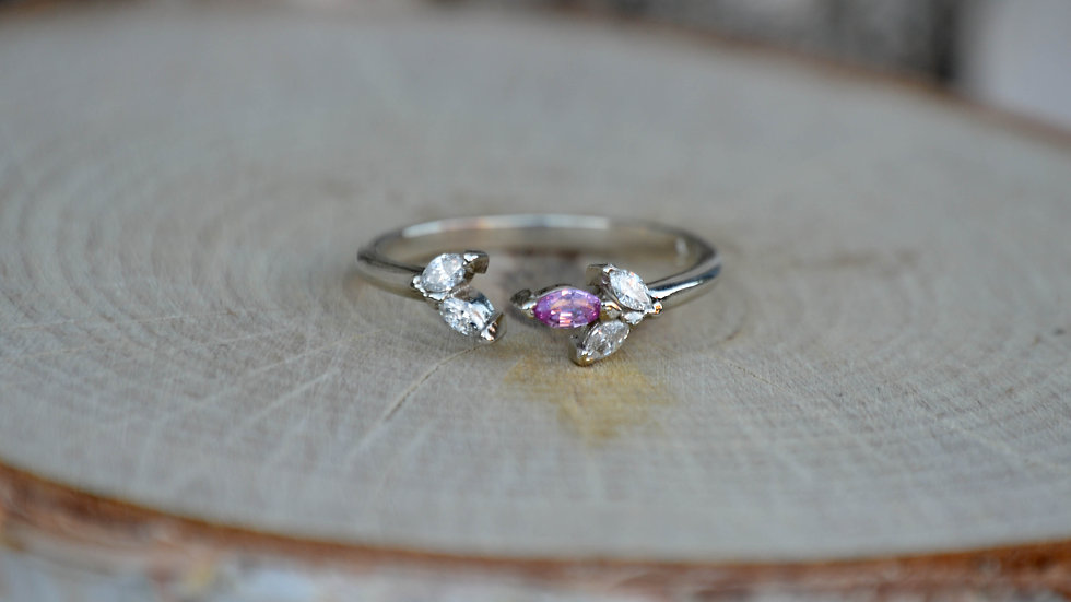 Aurora split Ring - 14k white gold with diamonds & pink sapphire