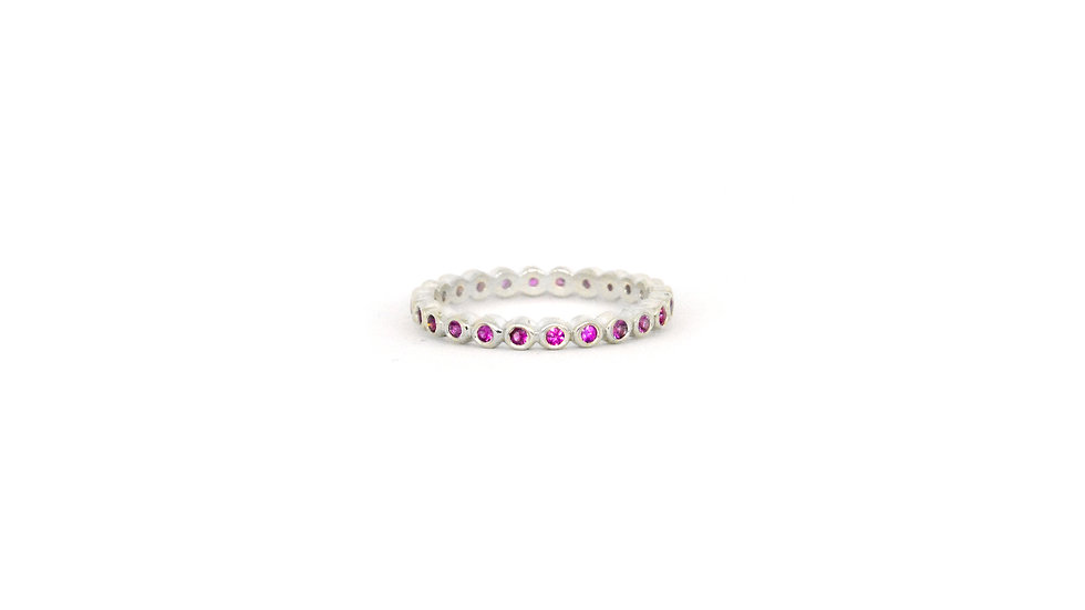 Amber Gemstone Band - Pink Sapphire/Sterling