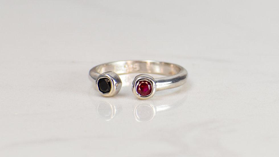 Fan Ring - Black Spinel/Ruby in Sterling