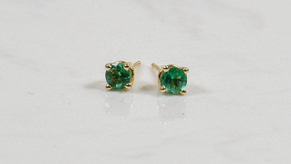 Emerald Studs - 14k yellow gold