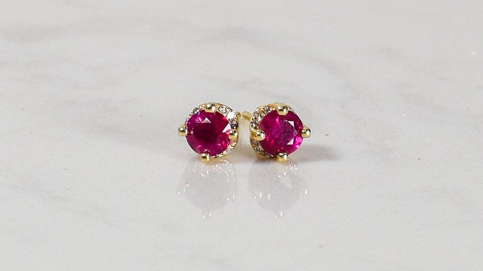 Ruby & Diamond Studs - 14k yellow gold