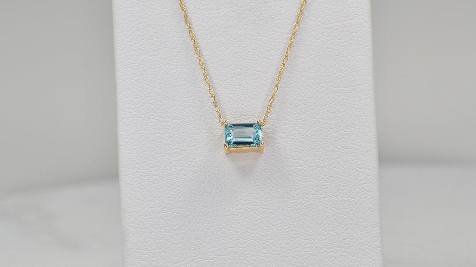 Janelle Pendant - Blue Zircon/14k yellow gold